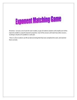 Exponent Properties Matching Game