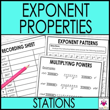 Exponent Rules & Exponent Properties  Middle School Math Stations