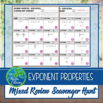 Exponent Properties - Mixed Review Scavenger Hunt