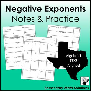 Negative Exponents Notes & Practice (A11B)