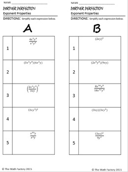 Exponent Properties Differentiated Partner Worksheets
