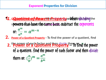 Exponent Properties/Rules Summary