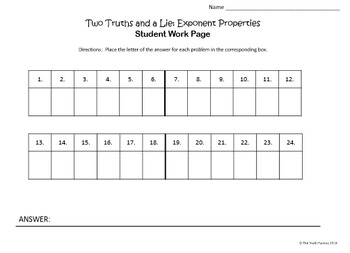 Exponent Properties Task Cards Two Truths and a Lie