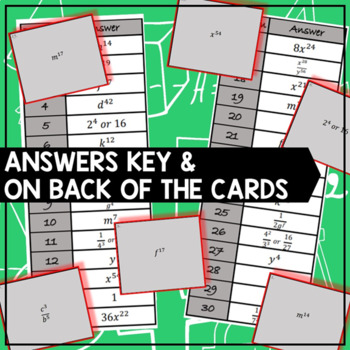 Exponent Properties - Task Cards