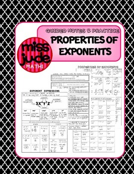 Exponent Properties for Algebra [guided notes, warm-up, practice]