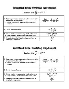 Exponent Quotient Law