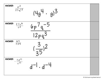 Exponent Rule (ALL) Chain Reaction Activity