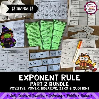 Exponent Rule Bundle (Part 2) - Power, Product, Quotient, Negative & Zero
