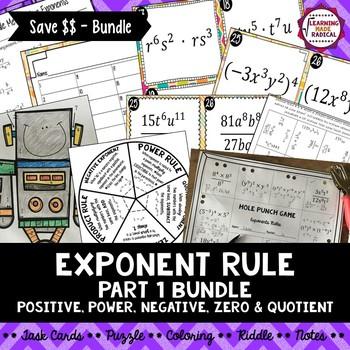 Exponent Rule Bundle - Power, Product, Quotient, Negative & Zero Exponent Rules