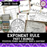 Exponent Rule Bundle (Part 1) - Power, Product, Quotient, Negative & Zero