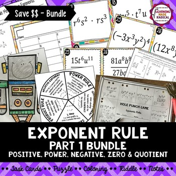 Exponent Rule Bundle (Part 1) - Power, Product, Quotient, Negative & Zero
