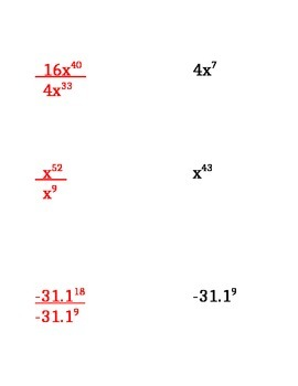 Exponent Rule Card Match