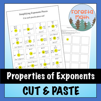 Exponent Rule Cut and Paste Activity