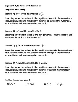 Exponent Rule Notes