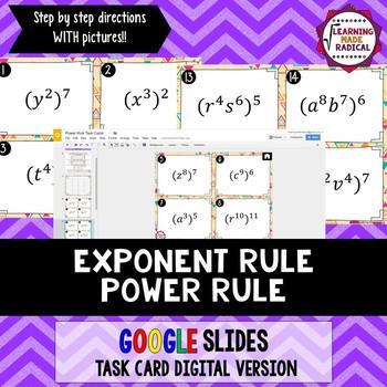 Exponent Rule - Power Rule Task Card GOOGLE Slide Digital Version 8.EE.A1