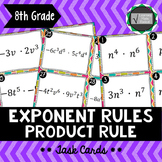 Exponent Rule - Product Rule Task Cards 8.EE.A1