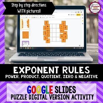 Exponent Rule Puzzle GOOGLE SLIDES Activity