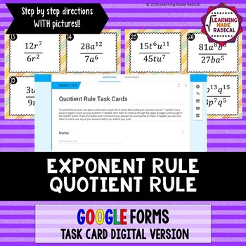 Exponent Rule - Quotient Rule Task Card GOOGLE Forms Digital Version 8.EE.A1