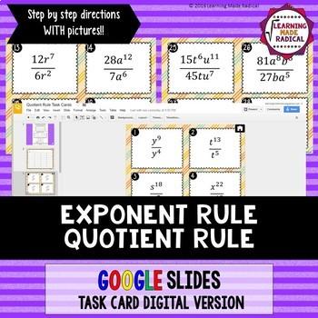 Exponent Rule - Quotient Rule Task Card GOOGLE Slide Digital Version 8.EE.A1