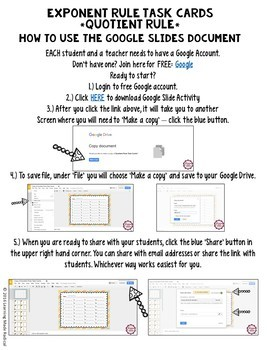 Exponent Rule - Quotient Rule Task Card GOOGLE Slide Digital Version