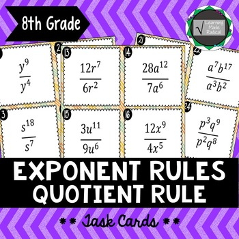 Exponent Rule - Quotient Rule Task Cards 8.EE.A1