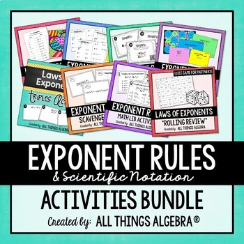 Exponent Rules - Laws of Exponents - Activities Bundle