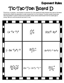 Exponent Rules Activity {Properties of Exponents Activity} {Algebra Games}