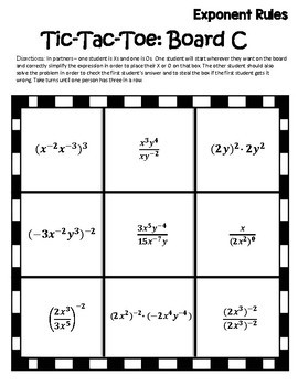 Exponent Rules Activity {Properties of Exponents Activity} Exponent Rules Games