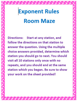 Exponent Rules Around the Room Maze
