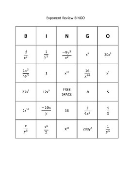 Exponent Rules BINGO Review