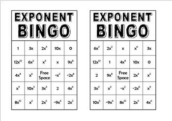 Exponent Rules BINGO Review Game
