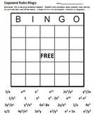 Exponent Rules Bingo