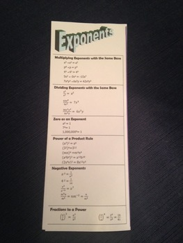 Exponent Rules Bookmark