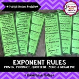 Exponent Rules Bookmark Notes - Power, Product, Quotient,
