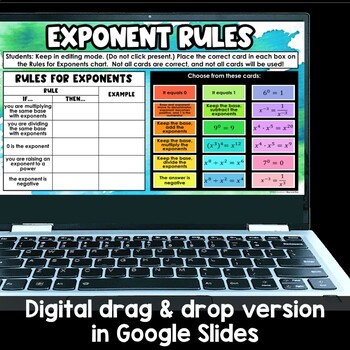 Exponent Rules Card Sort Activity, Laws of Exponents