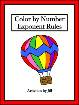 Exponent Rules Color by Number