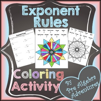 Exponent Rules Coloring Activity {Laws of Exponents Coloring Activity}