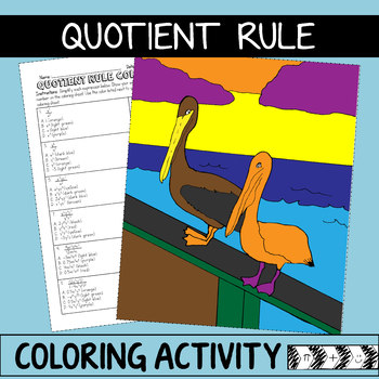 Laws of Exponents Coloring Activity - Quotient Rule
