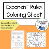 Exponent Rules Coloring Sheet