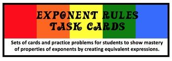 Exponent Rules--Creating Equivalent Expressions Activity