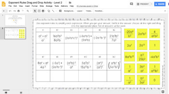 Exponent Rules DIGITAL Drag and Drop Activity for Google Drive™