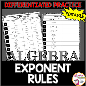 Exponent Rules Differentiated Practice EDITABLE