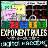 Exponent Rules (with evaluating) Digital Math Escape Room