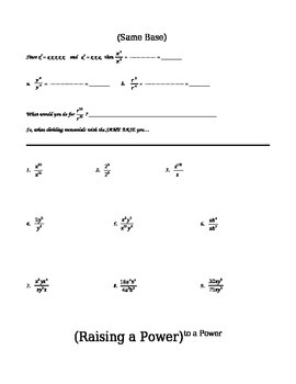 Exponent Rules Discovery and Practice