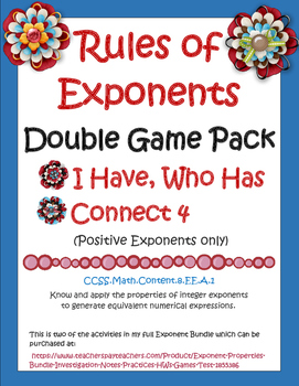 Properties of Exponents Double Game Pack (CCSS: 8.EE.A.1)