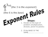 Exponent Rules Flip Book