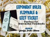 Exponent Rules Lesson for Interactive Notebook with Exit Ticket
