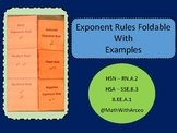 Exponent Rules Foldable (Graphic Organizer) with Examples