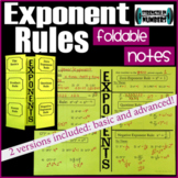 Exponent Rules Foldable Notes Interactive Notebook