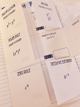 Exponent Rules Foldables for Interactive Notebooks and Review